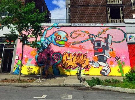 Lovebot (right) and perhaps Grominator (left) on St-Marc; photo © PiaMTL