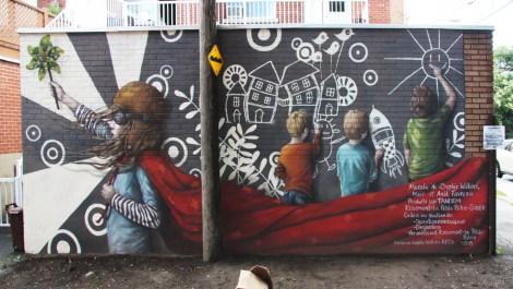 Sophie Wilkins, Mael and Anik Favreau mural for Tandem Rosemont-La-Petite-Patrie