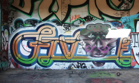 Five8 (letters) and Omen (face) in the abandoned Canada Malting Plant
