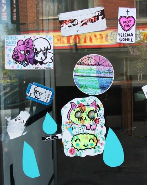 stickers and paste-ups by Stela, Naps, Zu, Swarm, Selena Gomez, etc.
