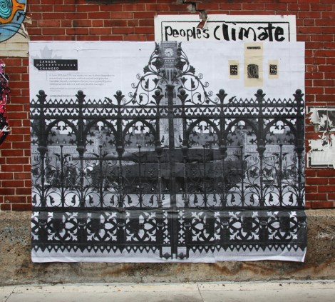 very large pasted poster by unidentified artist or collective
