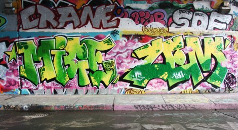 Mice and Zem at the Rouen legal graffiti wall; above left is Crane