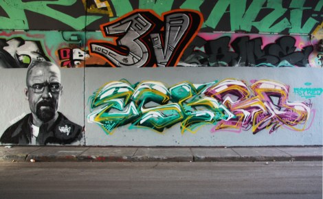 Rouks (left) and Escro (right) at the Rouen legal graffiti wall; above is Ratek representing the 3V crew