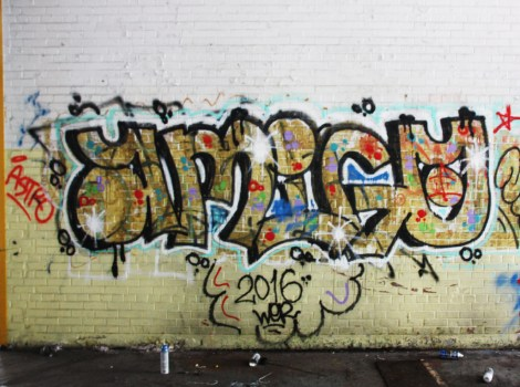 Amigo graffiti piece found in the abandoned Transco