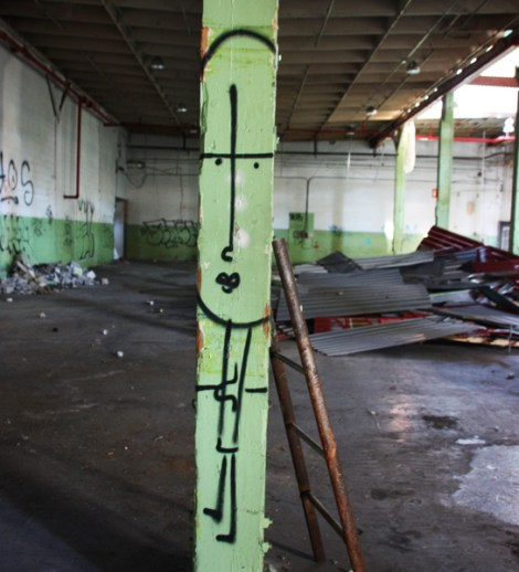 unidentified artist in the abandoned Transco's green room