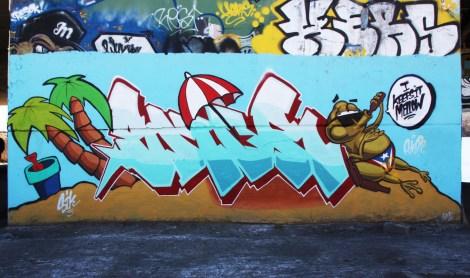 Skor piece at the Papineau legal graffiti wall