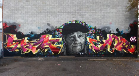 Tribute mural by Skor (left and centre) to his grandfather, with contribution by Narc (right)