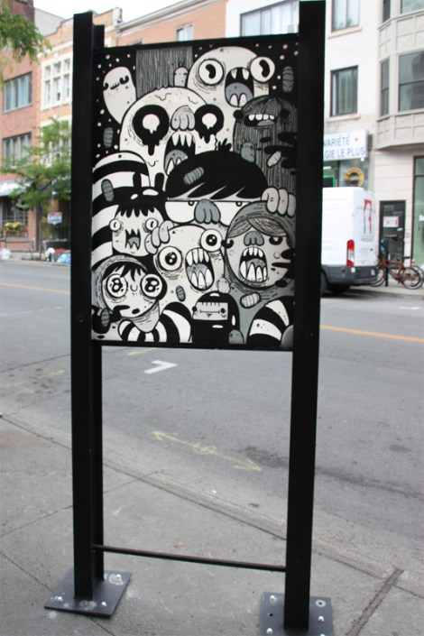 Astro on sidewalk panel on Amherst for the 2016 edition of the MTL En Arts festival