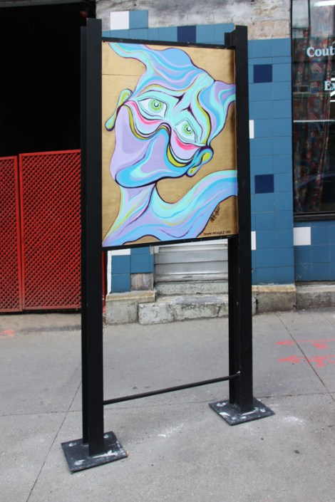 M'Os Geez on sidewalk panel on Amherst for the 2016 edition of the MTL En Arts festival