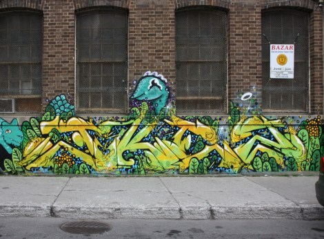 Ekes' part in a multi-artist mural project for Sun Youth with a few creatures by Waxhead