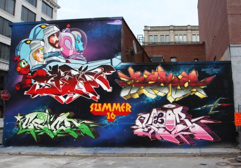 123Klan wall for the Under Pressure 2016 festival, featuring guests Mark Esprit (top left) and Zek (top right)