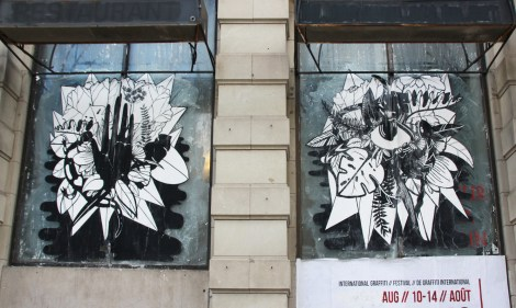 Large wheatpaste by unidentified artist for the 2016 edition of Under Pressure
