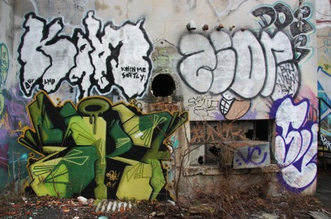 "EK Sept (bottom left), Kelen (top left), Zion (top right) and Sunz (bottom right) inside the abandoned ""Jailspot"""
