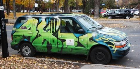 Axe on minivan side