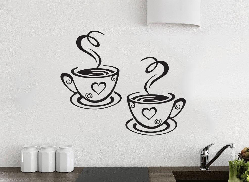 kitchen wall art led ceiling lighting 2 coffee cups tea sticker vinyl decal restaurant stickers