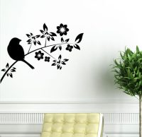 Bird on Tree Branch Wall Vinyl Sticker Decal Livingroom ...
