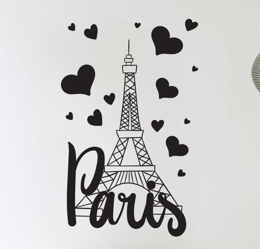 Paris France Eiffel Tower Love Wall Art Decal Decor Vinyl Sticker ...
