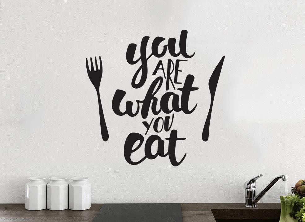 kitchen wall art stone backsplash you are what eat decor vinyl sticker decal mural