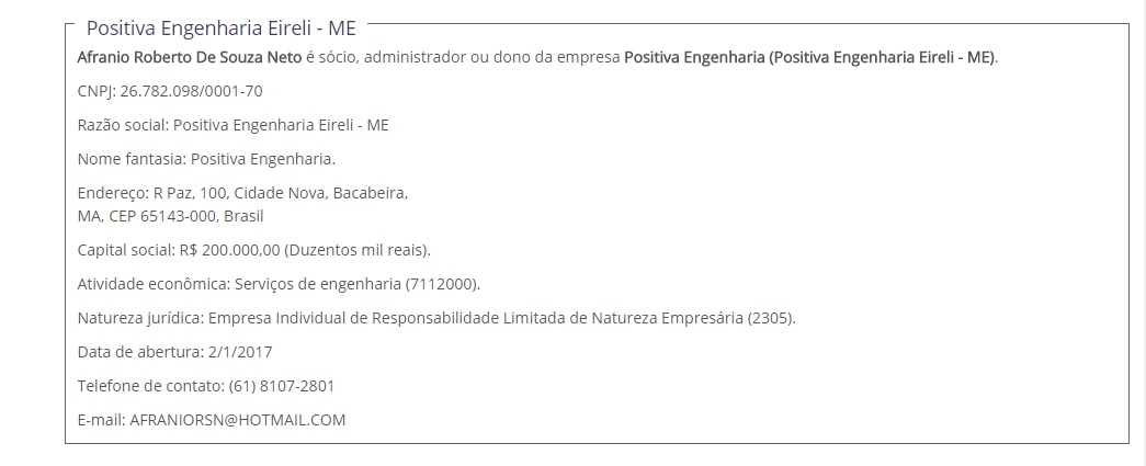 Dados da empresa Positivo Engenharia