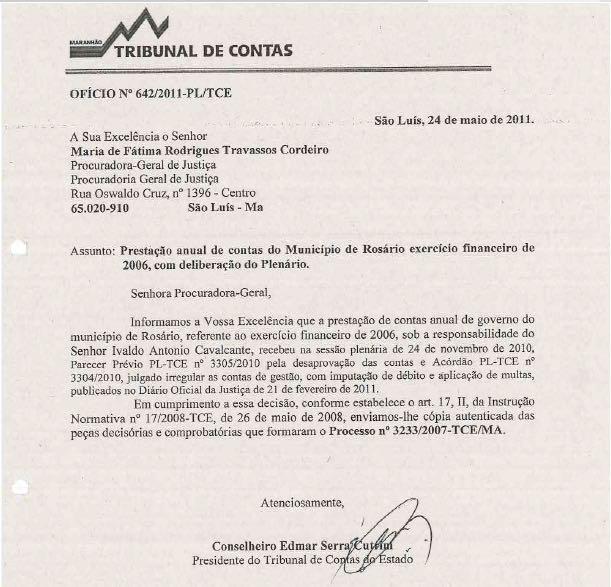 Esse documento foi o que motivou o MP a entrar com uma ação contra Ivaldo e Sandro