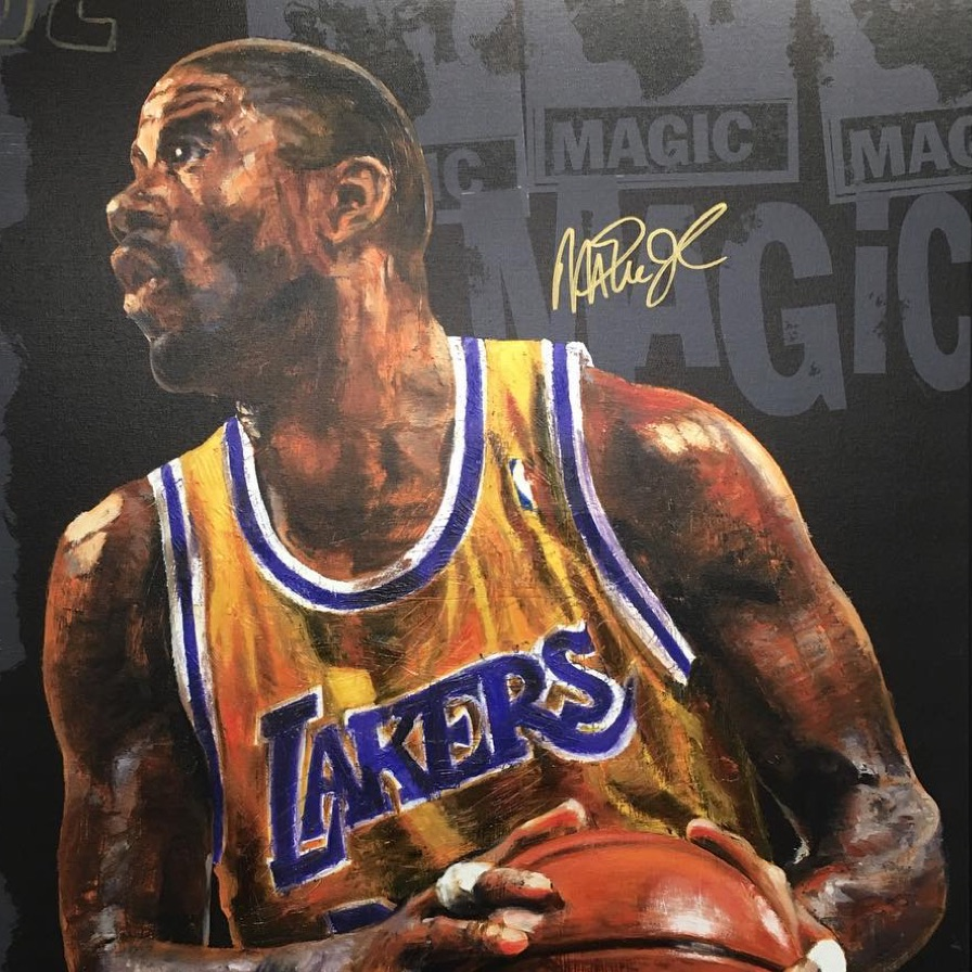 Autographed picture of Magic Johnson from LA Lakers