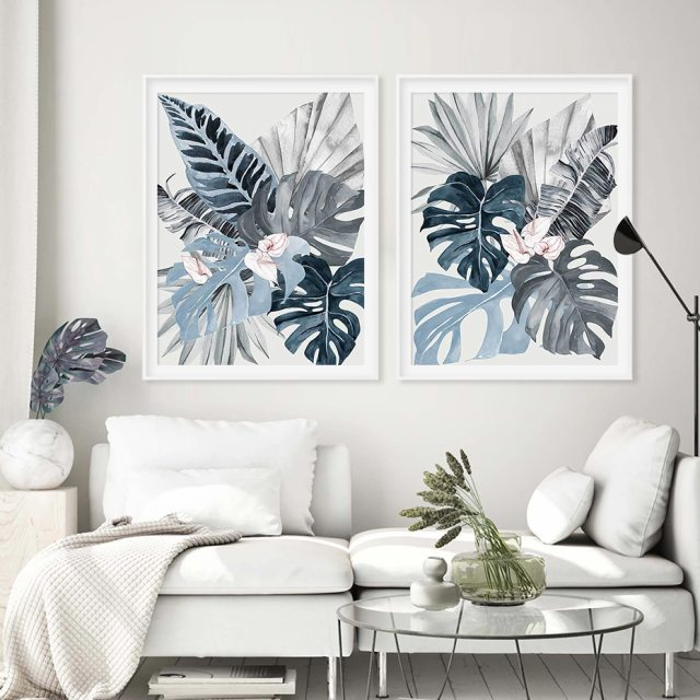 Modern Floral Tropical Blue Palm Leaf Canvas Painting Wall Art Prints Picture For Living Room Bedroom Home Decoration No Frame Wall Art Accents
