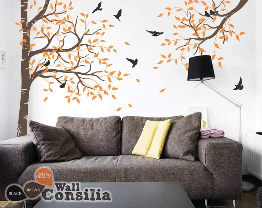 corner tree with branch and birds tree wall decalwallconsilia