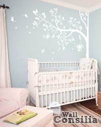 White tree wall decal with leaves and birdsWallconsilia.com