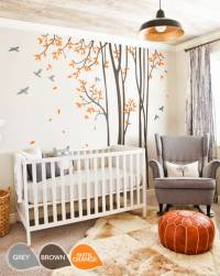 Large nursery wall decal set with Grey birds and Orange ...