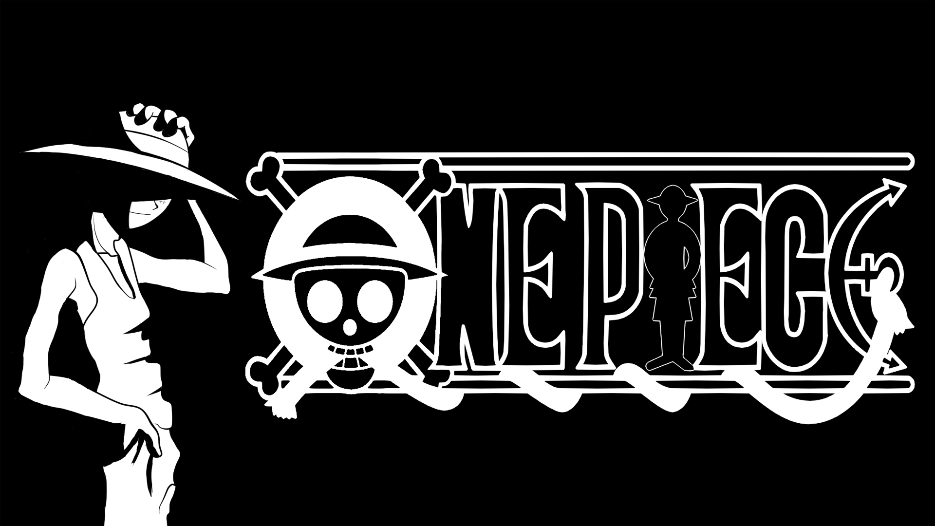 One Piece Black And White Background 5887 Wallpaper