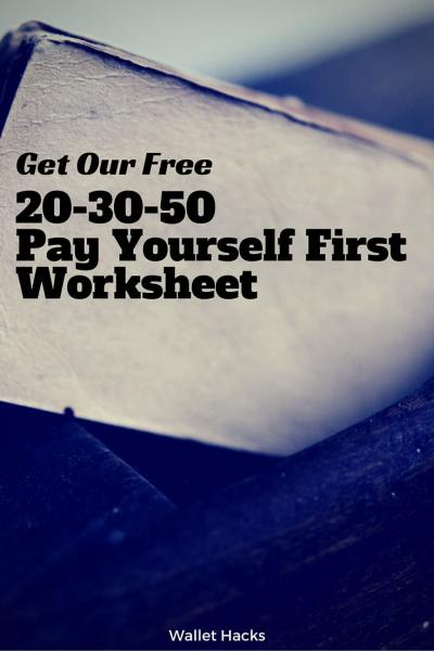 One of money's most important ratios is the 20-30-50 rule - save 20% and pay yourself first. Use our free simple worksheet to help you adjust your savings up or down based on your life's particulars.