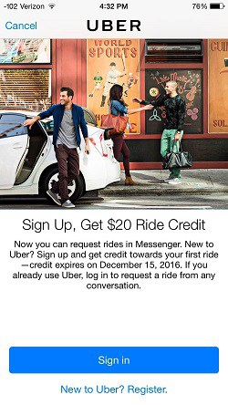 I've never used it but $20 off your first ride usually means its free!