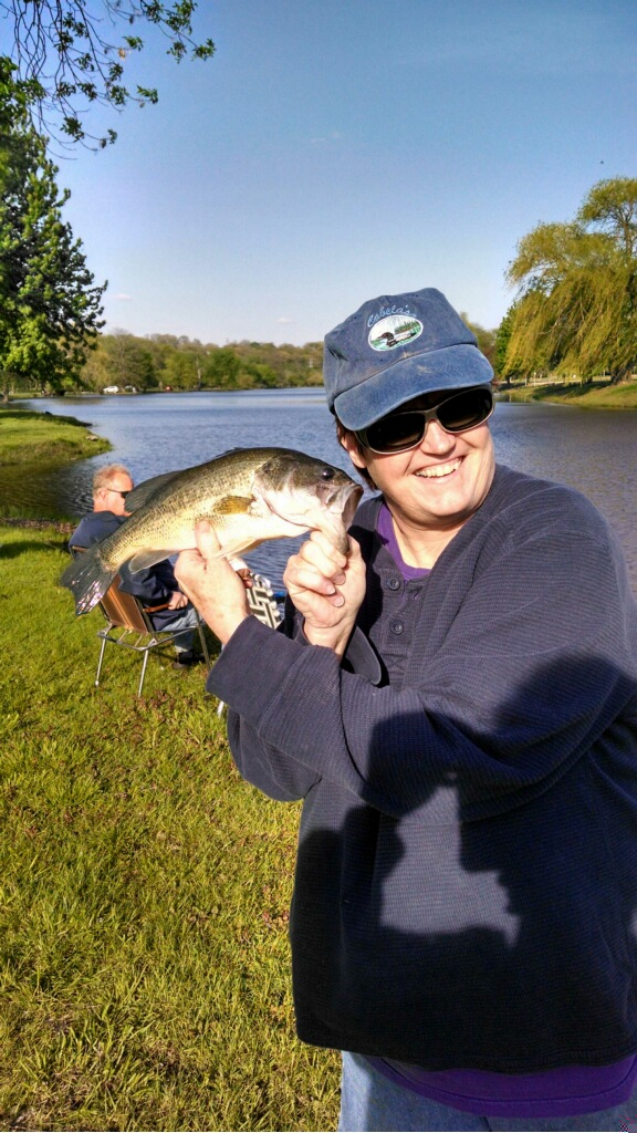 Robins Lake bass.  First of the year for Linda Eliff!