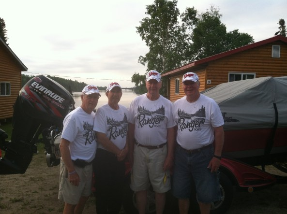 Gary, Danny, Dave and Denny with their clean Ranger shirt and new hat for the ride back to Cedar Rapids!
