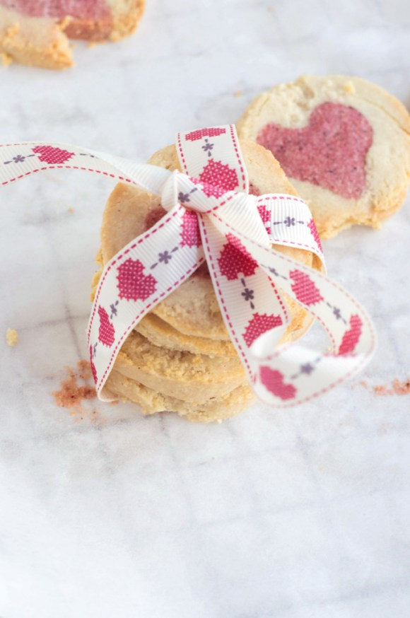 Almond & Rose 'Hidden Heart' Cookies {Gluten-free, Vegan with Raw Option}