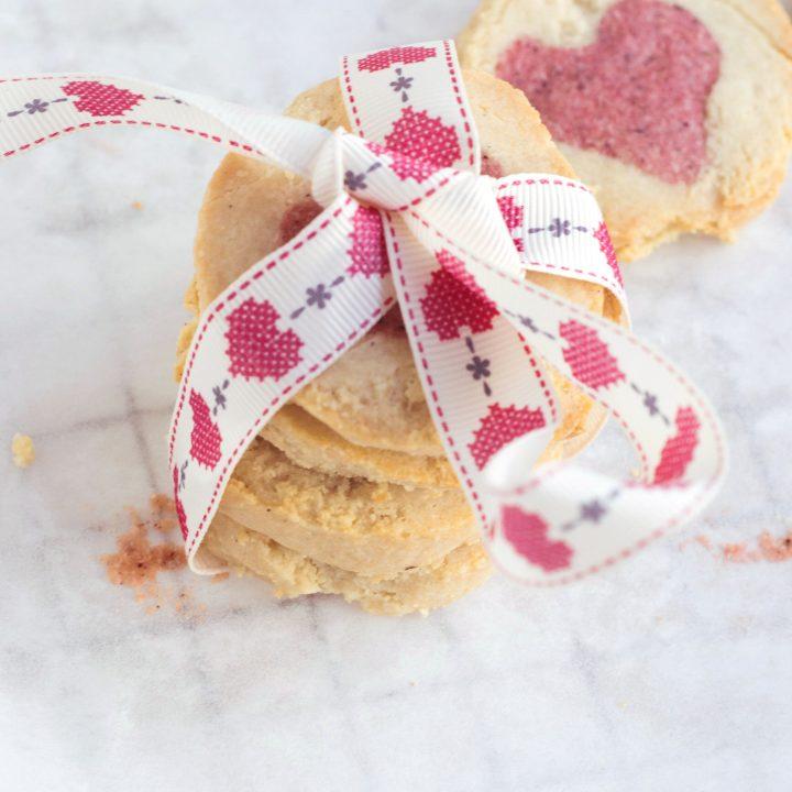 Almond & Rose Heart Cookies