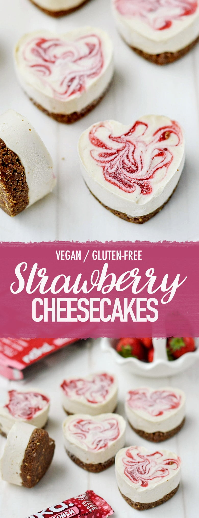 #Vegan Strawberry Cheesecakes #Glutenfree #ValentinesDay