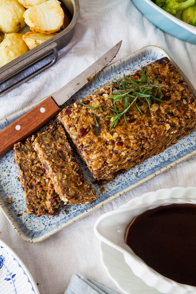 Lentil Roast with Balsamic Onion Gravy (vegan & gluten-free)