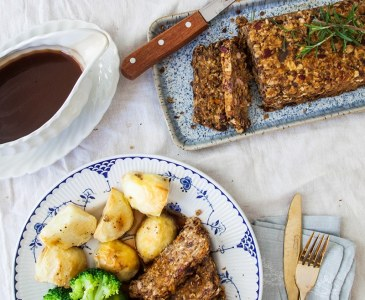 Lentil Roast with Balsamic Onion Gravy
