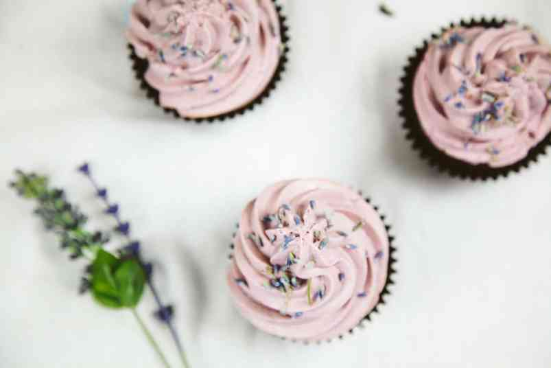 Vegan Chocolate Lavender Cupcakes (no refined sugars)
