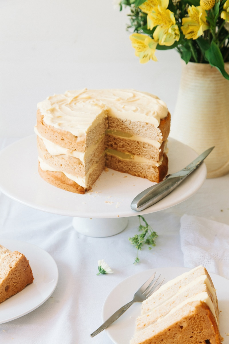 Lemon Cake with White Chocolate Frosting Vegan