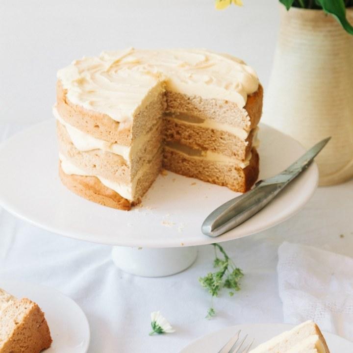 Vegan Elderflower Cake with Lemon Curd & White Chocolate Frosting