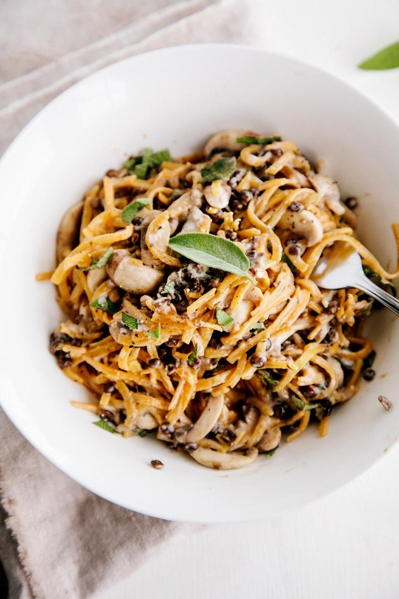 Butternut Noodles with Creamy Garlic Mushrooms & Lentils (Vegan + GF)