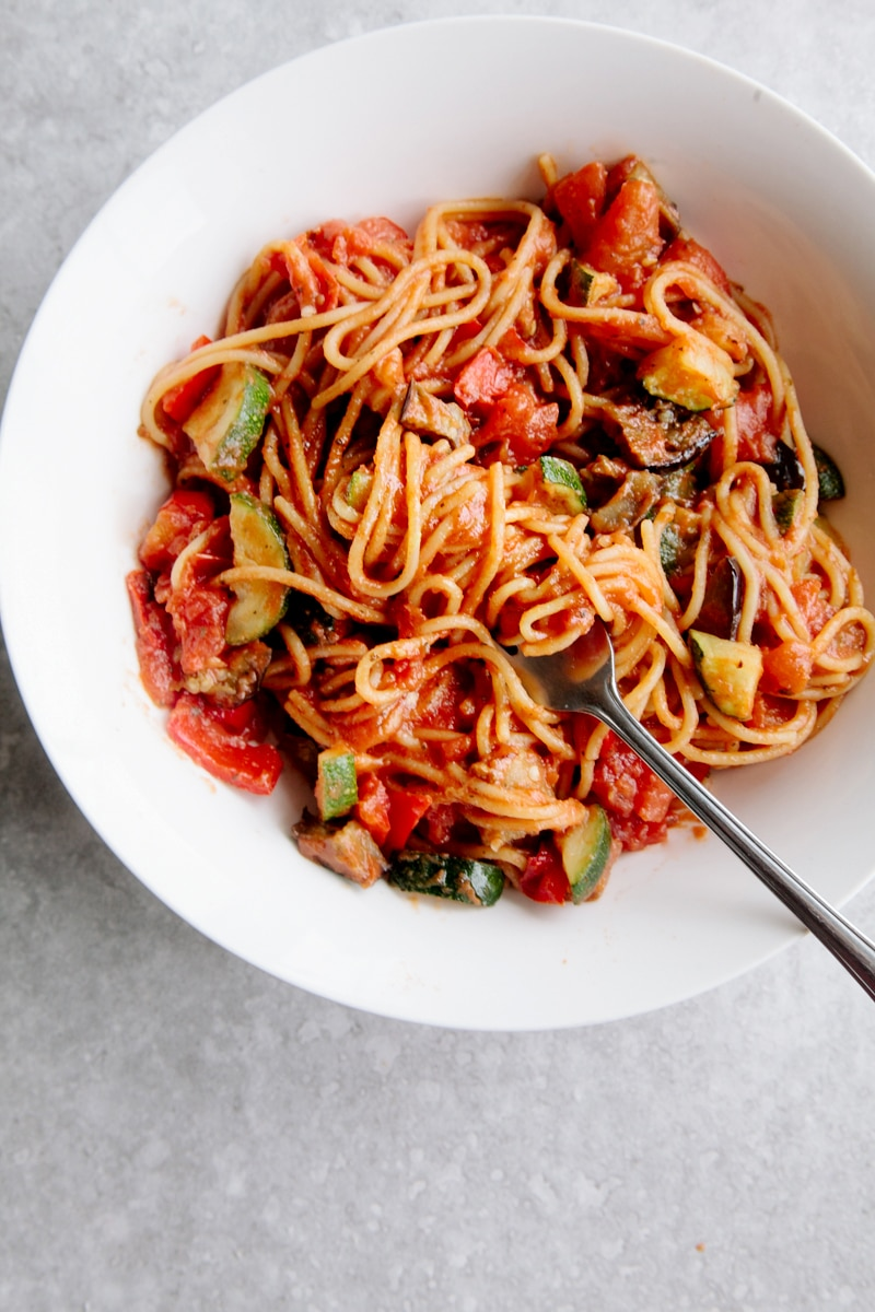 One-Pot Ratatouille Spaghetti (Vegan + GF)