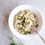 Creamy Mushroom Risotto (Vegan + GF)
