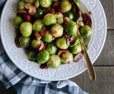 "Brussels Sprouts with Mushroom ""Bacon"" (Vegan + GF)"
