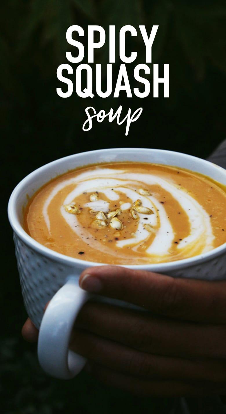 Spicy Butternut Squash Soup (Vegan + GF)