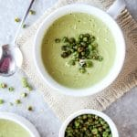 Cheesy Pea Soup with Roasted Pea Croutons (Vegan)