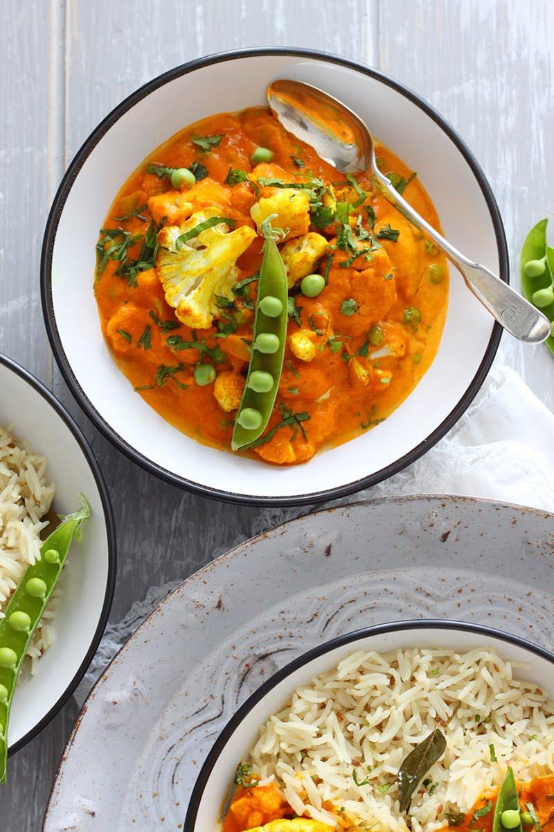 Vegan 'Butter' Cauliflower and Perfect Jeera Pilau