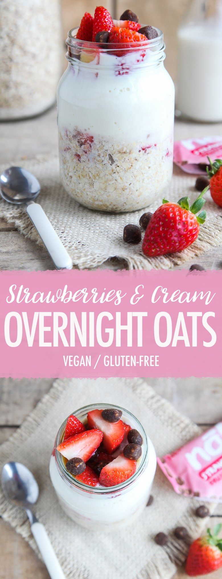 Strawberries & Cream Overnight Oats (Vegan + GF)